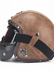 Недорогие -унисекс искусственная кожа шлемы 3/4 мотоцикл вертолет велосипедный шлем с открытым лицом винтаж мотоциклетный шлем с маской