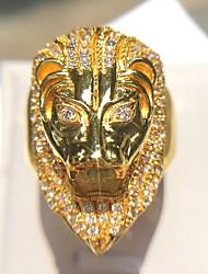 Недорогие -Муж. Заявление Цирконий 1шт Золотой Медь Искусственный бриллиант Покрынное золото 14K Геометрической формы Камни Для клуба Бижутерия Старинный Лев Cool