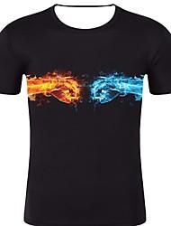 お買い得  -男性用 プリント Tシャツ ロック / 誇張された ソリッド / グラフィック ブラック XXL