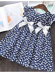cheap -Toddler Girls' Sweet Animal Sleeveless Above Knee Dress Blue