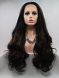 저렴한 -합성 레이스 프론트 가발 곱슬한 / 무광 스타일 레이어드 헤어컷 전면 레이스 가발 다크 브라운 블랙 / 브라운 인조 합성 헤어 24 인치 여성용 클래식 / 여성 / 뜨거운 판매 다크 브라운 가발 긴 Sylvia 130 % 인간의 머리카락 밀도 내츄럴 가발