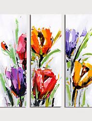tanie -Hang-Malowane obraz olejny Ręcznie malowane - Kwiatowy / Roślinny Nowoczesny Naciągnięte płótka / Trzy panele