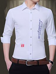 billige -Herre - Bogstaver Trykt mønster Skjorte Sort XXXL