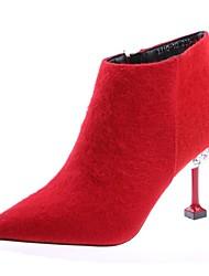 ราคาถูก -สำหรับผู้หญิง PU ฤดูใบไม้ร่วง & ฤดูหนาว ไม่เป็นทางการ บูท ส้น Stiletto Pointed Toe รองเท้าบู้ทหุ้มข้อ สีดำ / แดง