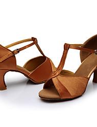Недорогие -Жен. Танцевальная обувь Сатин Обувь для латины / Обувь для сальсы Сандалии Каблуки на заказ Персонализируемая Коричневый / В помещении / Кожа / EU40