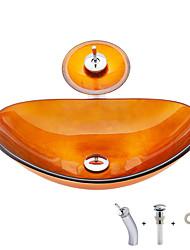 Недорогие -умывальник для ванной / смеситель для ванной / монтажное кольцо для ванной Современный - Закаленное стекло Прямоугольный Vessel Sink