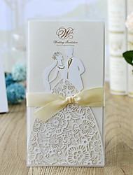 رخيصةأون -ملفي دعوات الزفاف 10pcs - بطاقات الدعوة نمط العروس&العريس / الأزهار ستايل أوراق لؤلؤة 21.5*11.5 cm Satin Bow / أوشحة / أشرطة / لاصق طبي