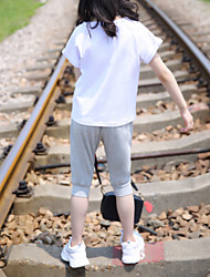abordables -Enfants Fille Actif / Basique Couleur Pleine / Bande dessinée Imprimé Manches Courtes Normal Normal Coton / Spandex Ensemble de Vêtements Blanc