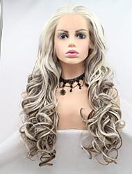 저렴한 -합성 레이스 프론트 가발 곱슬한 / 무광 스타일 레이어드 헤어컷 전면 레이스 가발 화이트 브라운 / 화이트 인조 합성 헤어 24 인치 여성용 클래식 / 여성 / 뜨거운 판매 화이트 가발 중간 길이 Sylvia 130 % 인간의 머리카락 밀도 내츄럴 가발