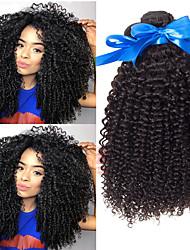 Недорогие -3 Связки Индийские волосы Kinky Curly Не подвергавшиеся окрашиванию 100% Remy Hair Weave Bundles Головные уборы Пучок волос Накладки из натуральных волос 8-28 дюймовый Нейтральный