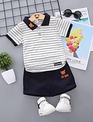 abordables -bébé Garçon Actif / Basique Rayé / Mosaïque Mosaïque / Brodée Manches Courtes Normal Normal Coton Ensemble de Vêtements Blanc