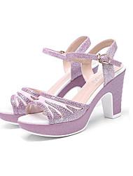 ราคาถูก -สำหรับผู้หญิง PU ฤดูร้อน ไม่เป็นทางการ รองเท้าแตะ ส้นหนา หินประกาย สีทอง / สีชมพู