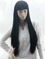 저렴한 -Wig Accessories 곱슬머리 스트레이트 / 스트레이트 야키 스타일 레이어드 헤어컷 캡 없음 가발 블랙 흑옥색 인조 합성 헤어 24 인치 여성용 파티 / 합성의 / 뜨거운 판매 블랙 가발 매우 긴 코스플레이 가발