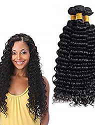 Недорогие -3 Связки Бразильские волосы Крупные кудри Не подвергавшиеся окрашиванию Человека ткет Волосы Пучок волос Накладки из натуральных волос 8-28 дюймовый Естественный цвет Ткет человеческих волос