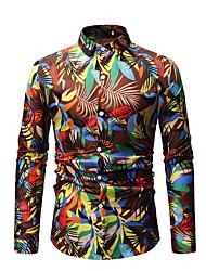 billige -Herre - Blomstret Trykt mønster Skjorte Blå XL
