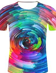 お買い得  -男性用 プリント Tシャツ ロック / 誇張された ギャラクシー / 3D / グラフィック レインボー XXL