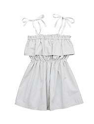 abordables -bébé Fille Actif / Basique Couleur Pleine A Basque / Lacet Sans Manches Coton Robe Beige