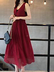 abordables -Femme Midi Mousseline de Soie Balançoire Robe Bleu Rouge Taille unique Sans Manches