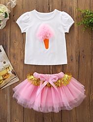 abordables -bébé Fille Actif / Basique Imprimé Maille Manches Courtes Normal Coton Ensemble de Vêtements Rose Claire / Bébé