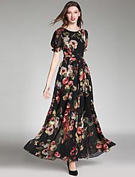 رخيصةأون -فستان نسائي شيفون متموج بوهو أنيق بقع طويل للأرض ورد