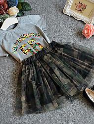 billige -Børn / Baby Pige Basale / Gade Trykt mønster Blonder Kortærmet Normal Normal Bomuld / Spandex Tøjsæt Grå