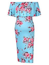 levne -Dámské Elegantní Shift Šaty - Květinový Geometrický, Volány Tisk Nad kolena