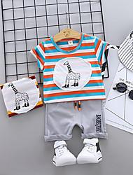 abordables -bébé Garçon Basique / Chic de Rue Rayé / Imprimé / Mosaïque Mosaïque / Imprimé / Cordon Manches Courtes Normal Normal Coton Ensemble de Vêtements Orange