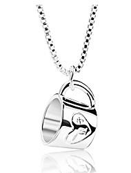 ieftine -Pentru femei Coliere cu Pandativ ceașcă Simplu La modă Draguț Argintiu 52 cm Coliere Bijuterii 1 buc Pentru Zilnic Festival