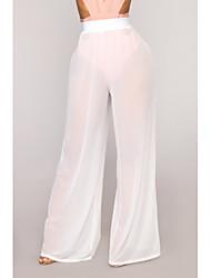 baratos -Mulheres Sofisticado Perna larga Calças - Sólido Patchwork Dourado Branco Preto L XL XXL