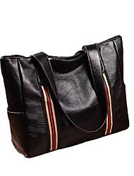 Недорогие -Жен. Мешки PU Сумка-шоппер Сплошной цвет Черный