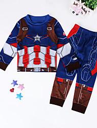tanie -Dzieci Dla chłopców Moda miejska Nadruk Długi rękaw Bawełna Komplet odzieży Niebieski