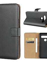 Недорогие -Кейс для Назначение LG LG V40 / LG V30 / LG V20 Кошелек / Бумажник для карт / со стендом Чехол Однотонный Твердый Настоящая кожа