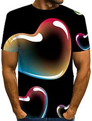 Недорогие -Муж. С принтом Футболка Уличный стиль / преувеличены Контрастных цветов / 3D / Графика Черный US40