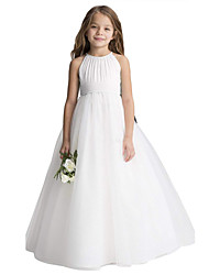 cheap -Princess Long Length Flower Girl Dress - Chiffon / Organza / Tulle Sleeveless Jewel Neck with Draping by LAN TING Express