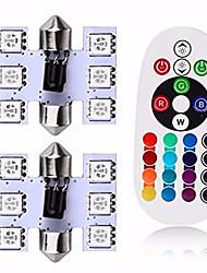 Недорогие -31mm 6 smd 16-цветный RGB светодиодный гирлянда купольная лампа освещения салона автомобиля с дистанционным управлением