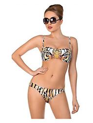 halpa -Naisten Perus Keltainen Niskalenkki Pikkutuhmat Bikini Uima-asut - Eläin Avoin selkä Painettu M L XL Keltainen