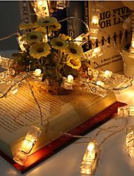 Недорогие -1.2 м держатели для фотографий клип строки огни 10 светодиодов теплая белая вечеринка дома декоративные 5 v 1 комплект