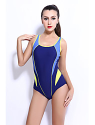 ราคาถูก -สำหรับผู้หญิง ทับทิม สีเทา สีน้ำเงินกรมท่า ชิ้นหนึ่ง ชุดว่ายน้ำ - ลายบล็อคสี XXL XXXL XXXXL ทับทิม
