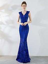 זול -בתולת ים \ חצוצרה צווארון V שובל סוויפ \ בראש נצנצים שמלה עם נצנצים על ידי LAN TING Express