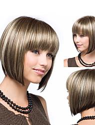 povoljno -Perike s ljudskom kosom Kinky Ravno Stil Srednji dio Capless Perika Smeđa Svijetlo zlatna Sintentička kosa 14 inch Žene Žene Smeđa Perika Dug Prirodna perika