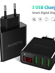 halpa -floveme eu plug pikalataus 3 usb-porttia johtava digitaalisen näytön tuki puhelin / pöytä ja muut laitteet (musta)