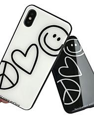 Недорогие -Кейс для Назначение Apple iPhone XS / iPhone XR / iPhone XS Max С узором Кейс на заднюю панель С сердцем Твердый Закаленное стекло