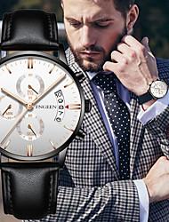 Недорогие -Муж. Спортивные часы Кварцевый Формальный Стильные Кожа Черный 30 m Творчество Светящийся Новый дизайн Аналоговый Блестящие На каждый день - Черный / Синий Черный / Серебристый Белый / Серебристый