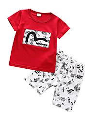 Недорогие -малыш Мальчики Уличный стиль С принтом С короткими рукавами Обычный Набор одежды Красный