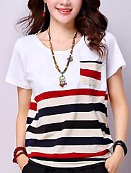 Χαμηλού Κόστους -Γυναικεία T-shirt Ριγέ Κίτρινο US6