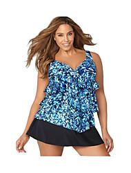 abordables -Mujer Básico Azul Piscina Halter Falda Alta cintura Tankinis Bañadores - Floral Estampado XXL XXXL XXXXL Azul Piscina