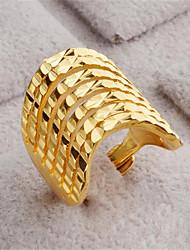 Недорогие -Жен. Открытое кольцо 1шт Золотой Заполненное золото 18K Геометрической формы Стиль Подарок Повседневные Бижутерия геометрический Счастливый Милый