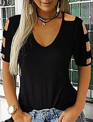 baratos -Mulheres Camiseta Sólido Preto US4