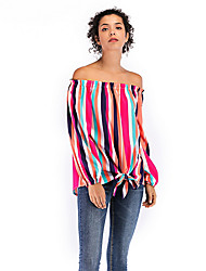 preiswerte -Damen Gestreift Hemd Patchwork / Druck Blau US4