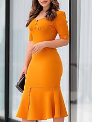 Недорогие -Жен. Классический Облегающий силуэт Платье - Однотонный, Пэчворк До колена